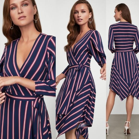 BCBGMAXAZRIA Womens Valet Stripe Handkerchief Wrap Dress